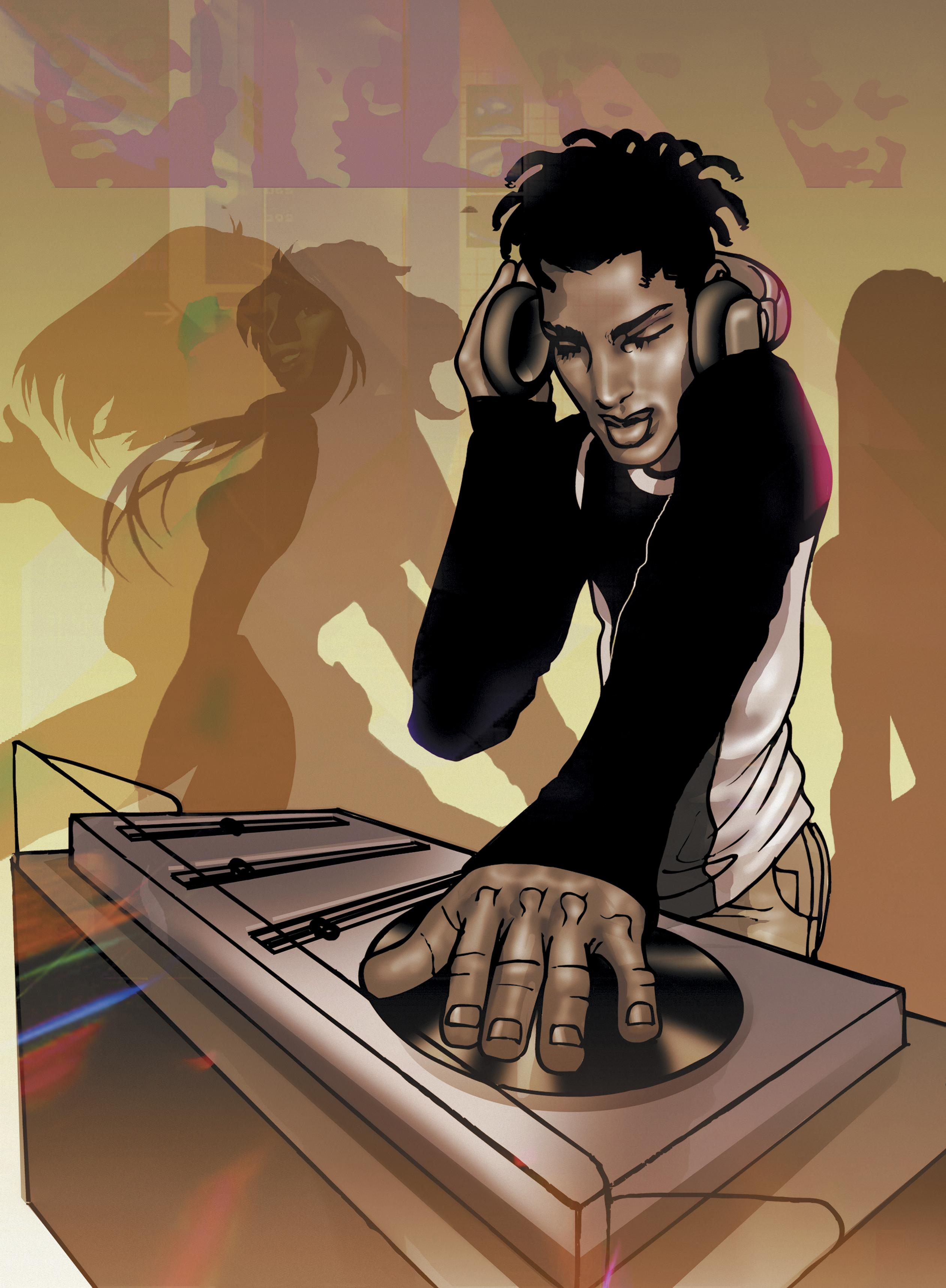 Portrait of a Young Dj Putting on a Record on a Turntable in a Nightclub
