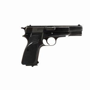 Close up of a semi-automatic pistol