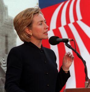 ME.Hillary.4.1210.AS––Los Angeles, CA. Photo taken 12–10–98. First Lady Hillary Rodham Clinton talki