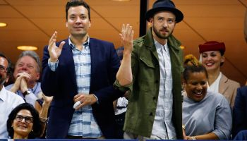 "Justin Timberlake and Jimmy Fallon ""Single Ladies"" dance at US Open, NYC"