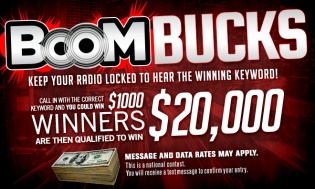 $20 National Text To Win - BOOMBUCKS Graphic