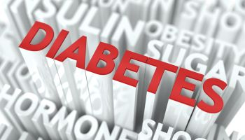 Diabetes Background Design. Word of Red Color Located over Word Cloud of White Color.