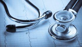 Stethoscope and EKG Representing Cardiac Checkup