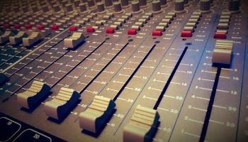 Closeup of a mixing desk in a recording studio