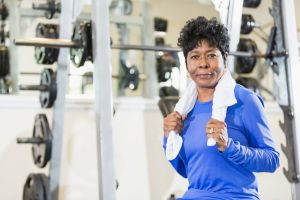 Mature black woman at the gym